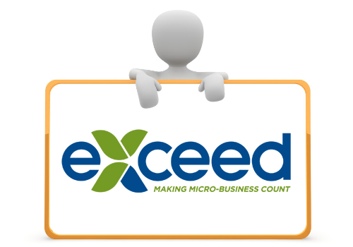 3d man with sign showing EXCEED